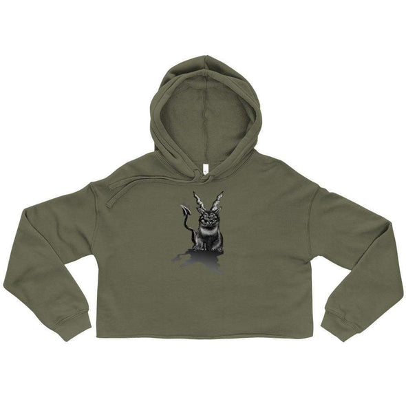 Trash Panda Chic Baphocat Cropped Hoodie Cropped Hoodie Military Green / S