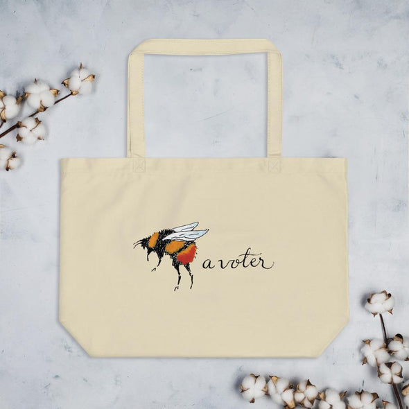 Revolution Art Shop Bee A Voter Large Organic Tote Tote Oyster