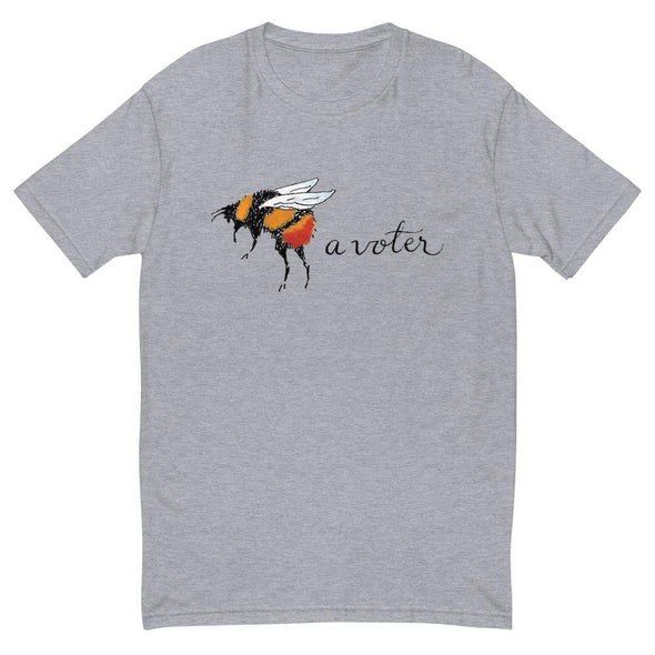 Revolution Art Shop Bee A Voter Mens Fitted Tee Heather Grey / XS