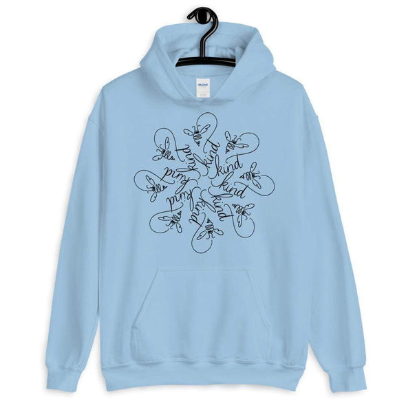 Nicole Bizzarro Bee Kind Mandala | The Snowflake Collection by Nicole Bizzarro | Unisex Hoodie Hoodie Light Blue / S