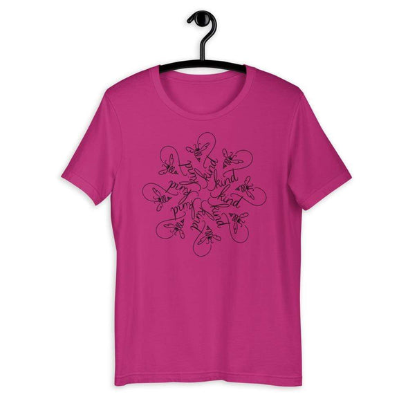 Revolution Art Shop Bee Kind Mandala : The Snowflake Series by Nicole Bizzarro : Unisex Tee Berry / S
