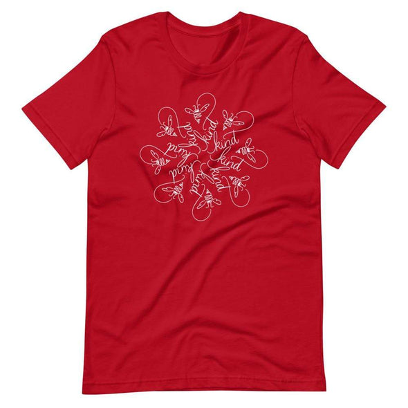 Revolution Art Shop Bee Kind Mandala : The Snowflake Series by Nicole Bizzarro : Unisex Tee Red / S