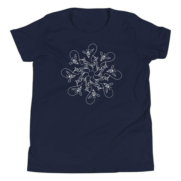 Revolution Art Shop Bee Kind Mandala : The Snowflake Series by Nicole Bizzarro : Youth T-Shirt Navy / S