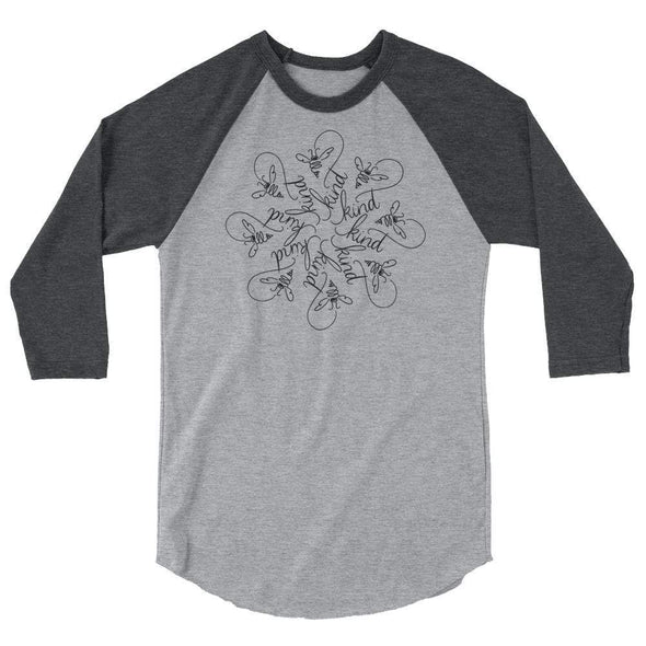 Revolution Art Shop Bee Kind : The Snowflake Series by Nicole Bizzarro : Raglan Heather Grey/Heather Charcoal / XS