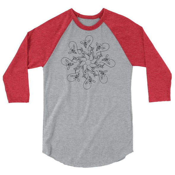 Revolution Art Shop Bee Kind : The Snowflake Series by Nicole Bizzarro : Raglan Heather Grey/Heather Red / XS