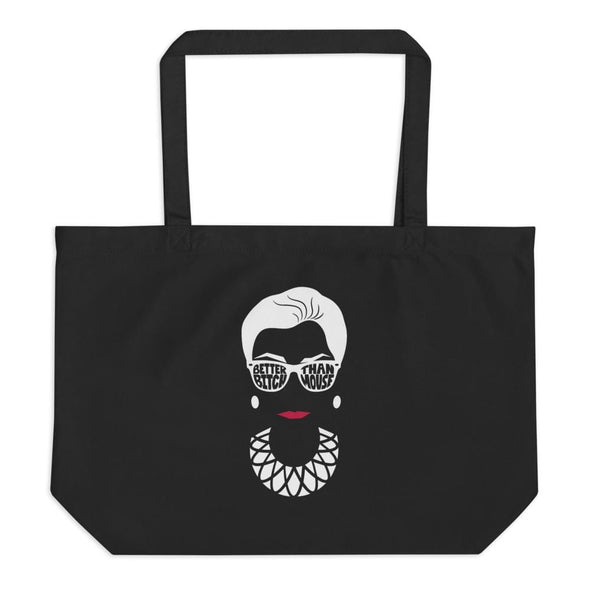 Anne Lesniak Better Bitch Than Mouse RBG Large Organic Canvas Tote Tote Black