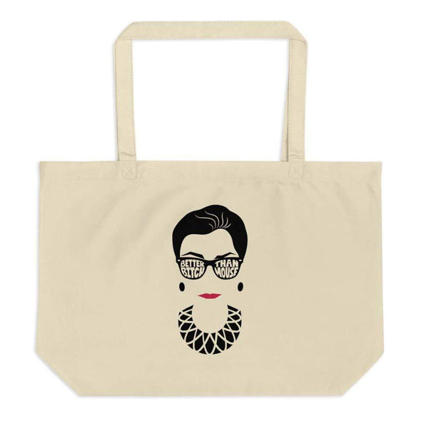 Anne Lesniak Better Bitch Than Mouse RBG Large Organic Canvas Tote Tote Oyster