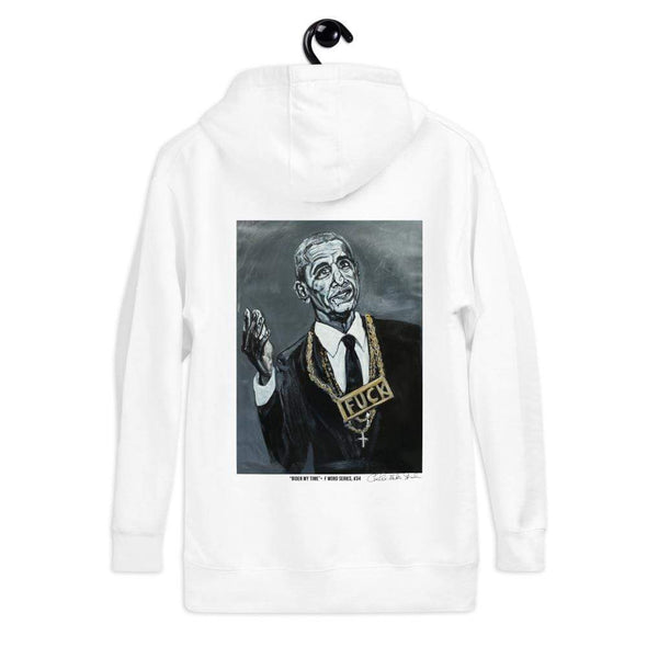 Revolution Art Shop Biden My Time | The F Word Series by Charles Baker Strahan Hoodie Hoodie White / S