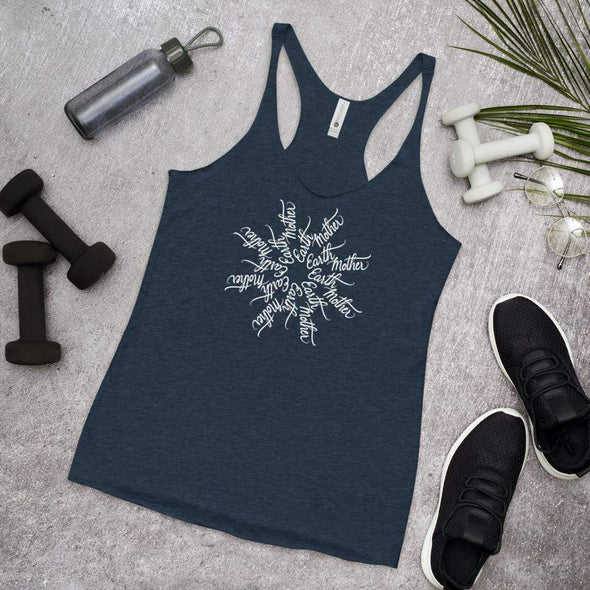 Nicole Bizzarro Earth Mother - Mother Earth Mandala Racerback Tank Racerback Tank Vintage Navy / XS