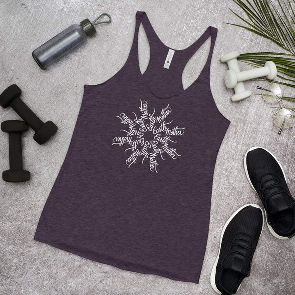 Nicole Bizzarro Earth Mother - Mother Earth Mandala Racerback Tank Racerback Tank Vintage Purple / XS