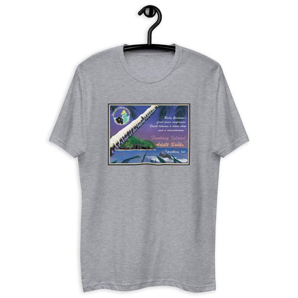 Revolution Art Shop Fantasy Island Vintage Style Postcard | Rudy's Last Stand | Men's Fitted Tee Heather Grey / XS