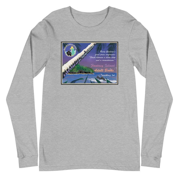 Revolution Art Shop Fantasy Island Vintage Style Postcard | Rudy's Last Stand | Unisex Long Sleeve Tee Athletic Heather / XS