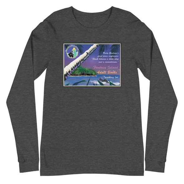 Revolution Art Shop Fantasy Island Vintage Style Postcard | Rudy's Last Stand | Unisex Long Sleeve Tee Dark Grey Heather / XS