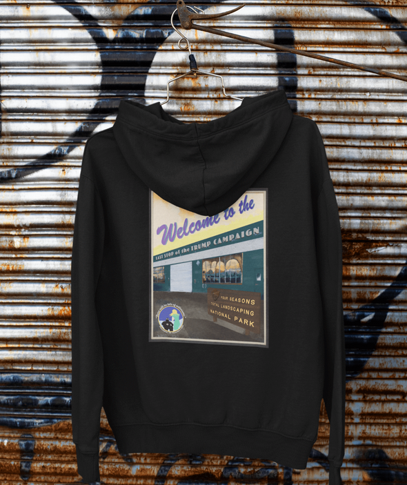 Revolution Art Shop Four Seasons National Park, Last Stop of the Trump Campaign |Vintage Poster Style Unisex Hoodie Hoodie