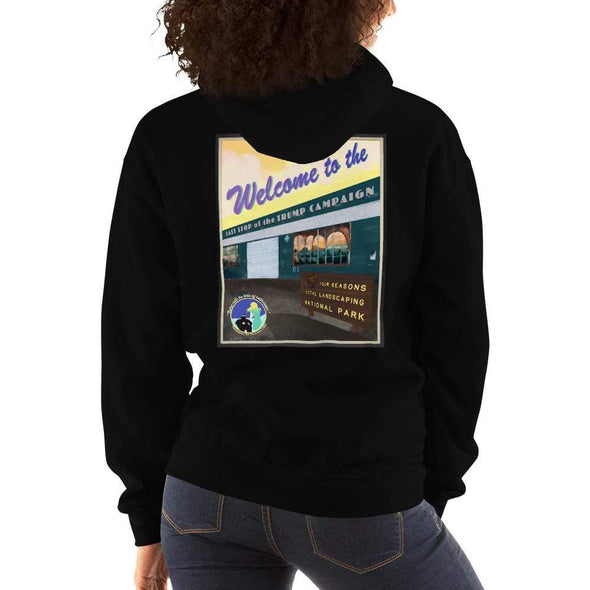 "Revolution Art Shop ""Four Seasons Parking Lot National Park, Last Stop of the Trump Campaign"" Vintage Poster Style Unisex Hoodie Black / S"