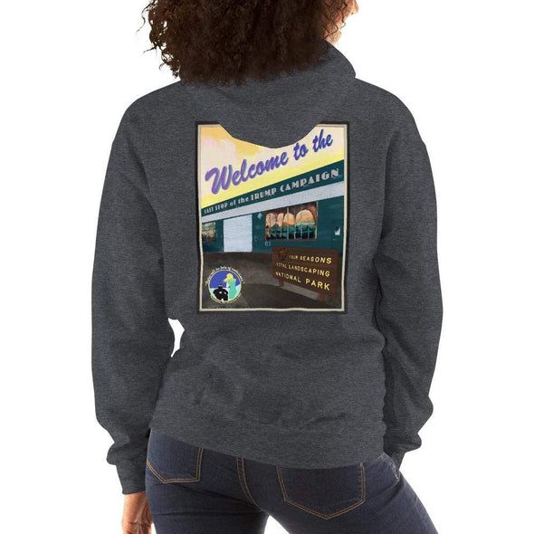 "Revolution Art Shop ""Four Seasons Parking Lot National Park, Last Stop of the Trump Campaign"" Vintage Poster Style Unisex Hoodie Dark Heather / S"