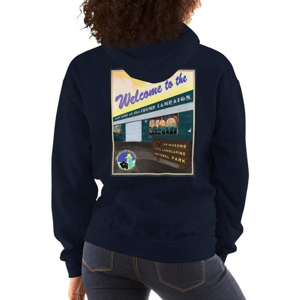 "Revolution Art Shop ""Four Seasons Parking Lot National Park, Last Stop of the Trump Campaign"" Vintage Poster Style Unisex Hoodie Navy / S"