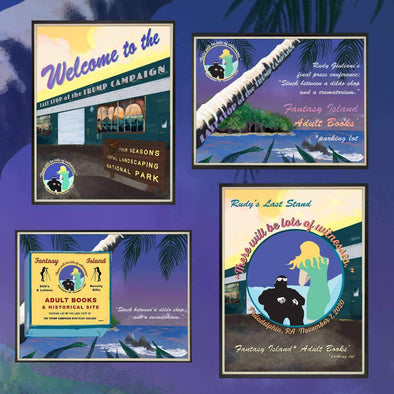 Revolution Art Shop Fantasy Island Vintage Historic Sites Set of 4 | individual Postcards Tote Set of 4 (1 of each)