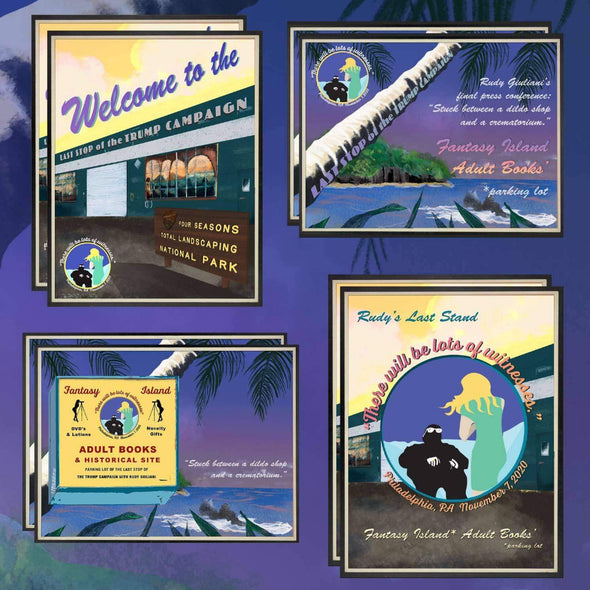 Revolution Art Shop Fantasy Island Vintage Historic Sites Set of 4 | individual Postcards Tote Set of 8 (2 of each)