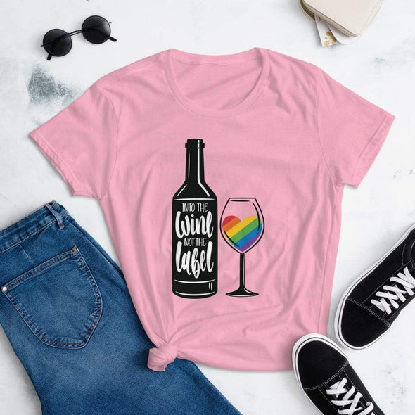 Revolution Art Shop Into The Wine, Not The Label Pride Women's Tee Charity Pink / S