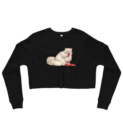 Revolution Art Shop Kitty Dentata Crop Sweatshirt Cropped Sweatshirt Black / S
