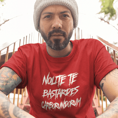 Revolution Art Shop Nolite Te Bastardes Carborundorum Mens Fitted Tee Men's Tees Red / XS