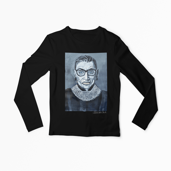 Charles Baker Strahan Notorious RBG | The F Word by Charles Baker Strahan Long Sleeve Fitted Crew Long Sleeve Tee Black / S