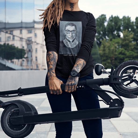 Charles Baker Straham Notorious RBG | The F Word by Charles Baker Strahan Long Sleeve Fitted Crew Long Sleeve Tee