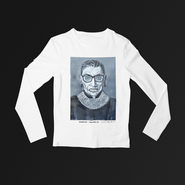 Charles Baker Strahan Notorious RBG | The F Word by Charles Baker Strahan Long Sleeve Fitted Crew Long Sleeve Tee White / S