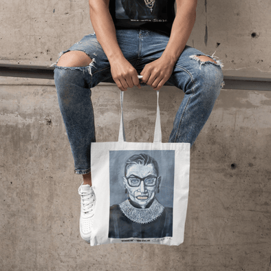 Charles Baker Straham Notorious RBG | The F Word by Charles Baker Strahan Small Tote bag Tote Black