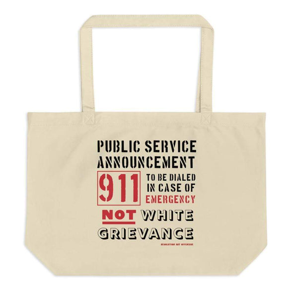 Revolution Art Shop Public Service Announcement organic tote bag Oyster