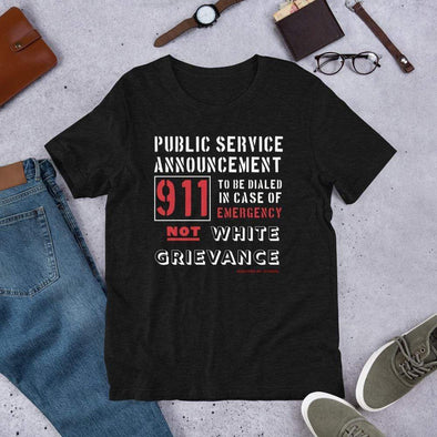 Revolution Art Shop Public Service Announcement Unisex Short-Sleeve Tee Unisex Tee Black Heather / XS