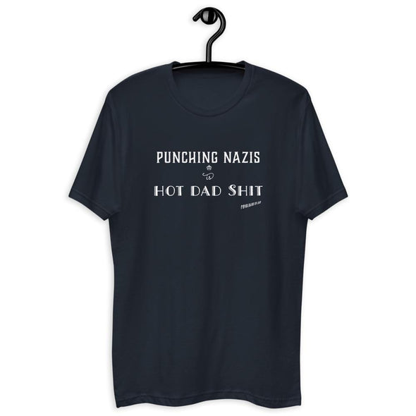 Revolution Art Shop Punching Nazis is Hot Dad Shit Mens Tee Men's Tees Midnight Navy / XS