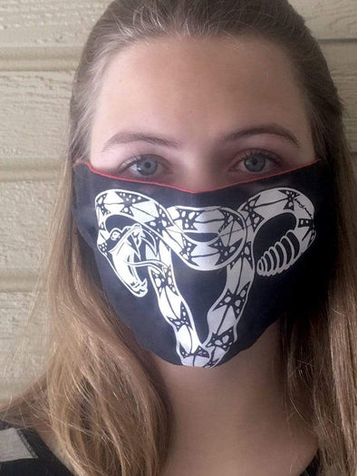 Revolution Art Shop Don't Tread On Me Uterus Rattlesnake Cotton Face Mask Face Mask