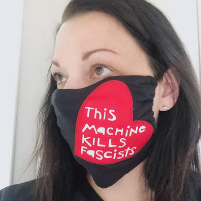 This Machine Kills Fascists Heart 100% Jersey Cotton Face Mask