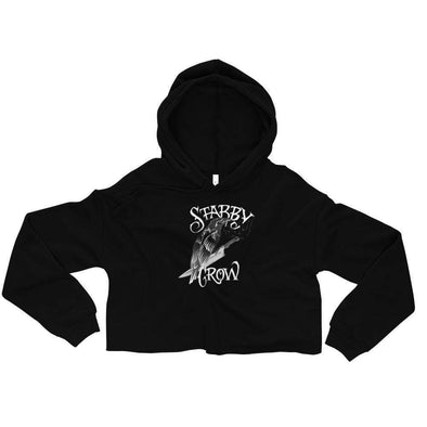 Trash Panda Chic Stabby Crow Cropped Hoodie Cropped Hoodie Black / S