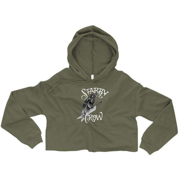 Trash Panda Chic Stabby Crow Cropped Hoodie Cropped Hoodie Military Green / S
