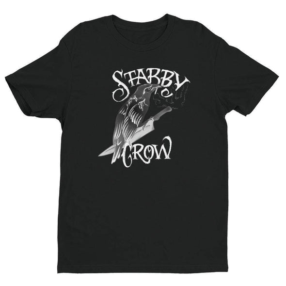 Trash Panda Chic Stabby Crow Men's Fitted Tee Men's Tees Black / XS