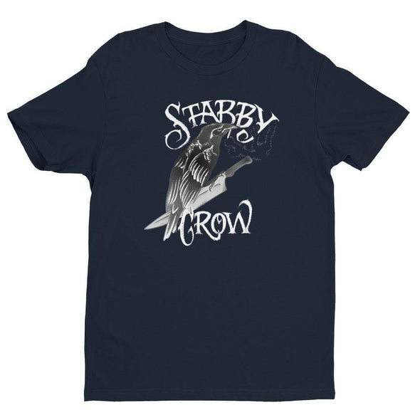 Trash Panda Chic Stabby Crow Men's Fitted Tee Men's Tees Midnight Navy / XS