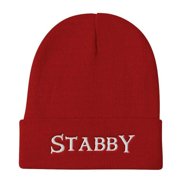 Trash Panda Chic Stabby Embroidered Beanie Beanie Red