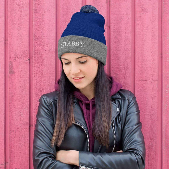 Trash Panda Chic Stabby Pom-Pom Beanie Beanie Royal/ Heather Grey