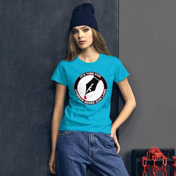 Revolution Art Shop The Pen Is Mightier Than The Gun Women's Tee Women's Tee Caribbean Blue / S