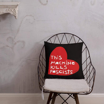 Revolution Art Shop This Machine Kill Fascists Heart Throw Pillow SPLC Throw Pillow Red Heart Black BG