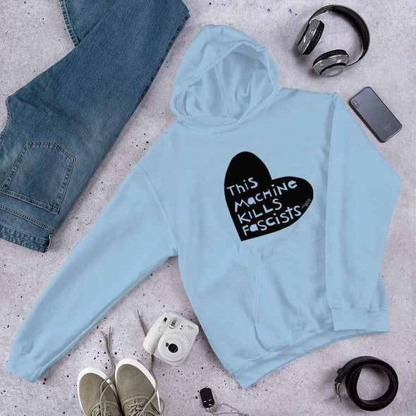 Revolution Art Shop This Machine Kills Fascists Heart Hoodie Hoodie Light Blue / S
