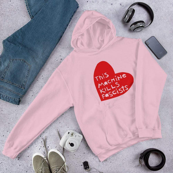 Revolution Art Shop This Machine Kills Fascists Heart Hoodie Hoodie Light Pink / S