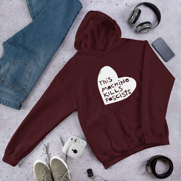 Revolution Art Shop This Machine Kills Fascists Heart Hoodie Hoodie Maroon / S