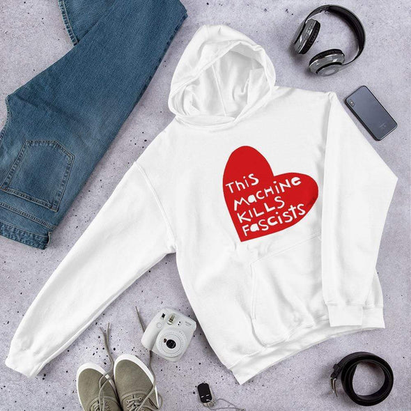 Revolution Art Shop This Machine Kills Fascists Heart Hoodie Hoodie White / S