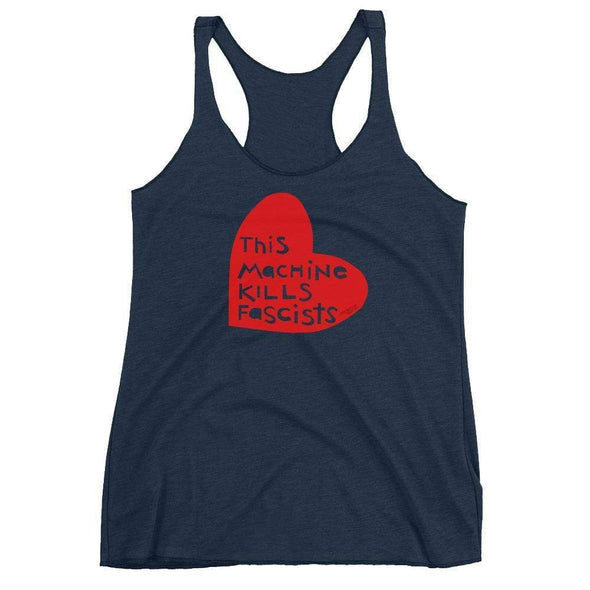 Revolution Art Shop This Machine Kills Fascists Heart Racerback Tank Racerback Tank Vintage Navy / XS