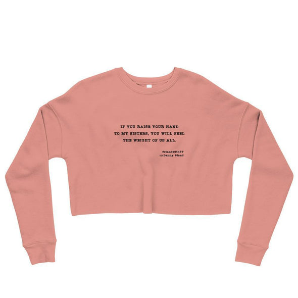 Revolution Art Shop To My Sisters Haiku Crop Sweatshirt Sweatshirt Mauve / S