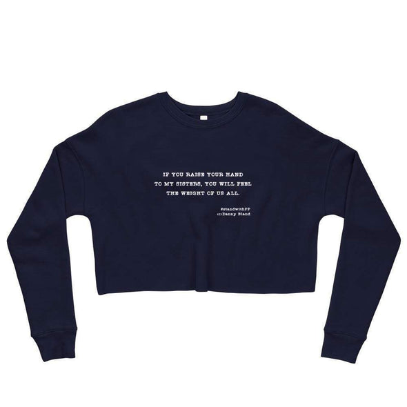 Revolution Art Shop To My Sisters Haiku Crop Sweatshirt Sweatshirt Navy / S